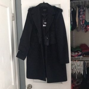 Topshop midlength peacoat with fur detail